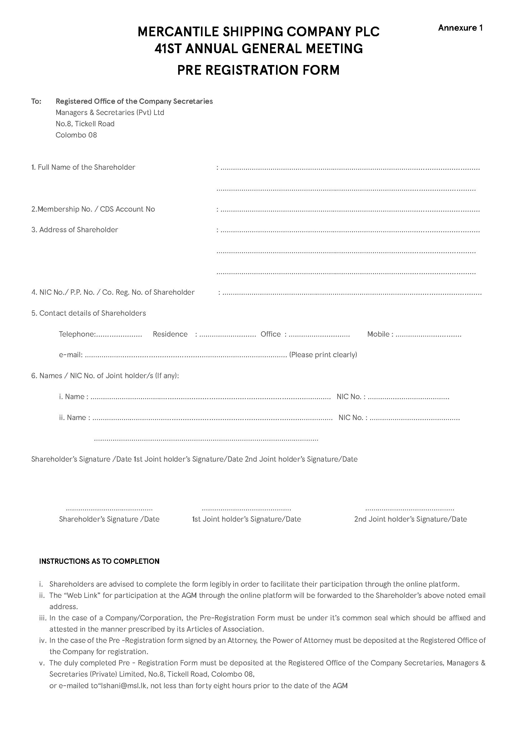 Annexure 1- Pre Registration Form