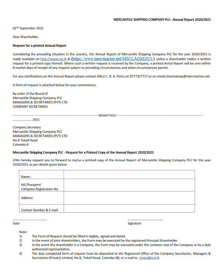 Form of Request for a Printed Annual report